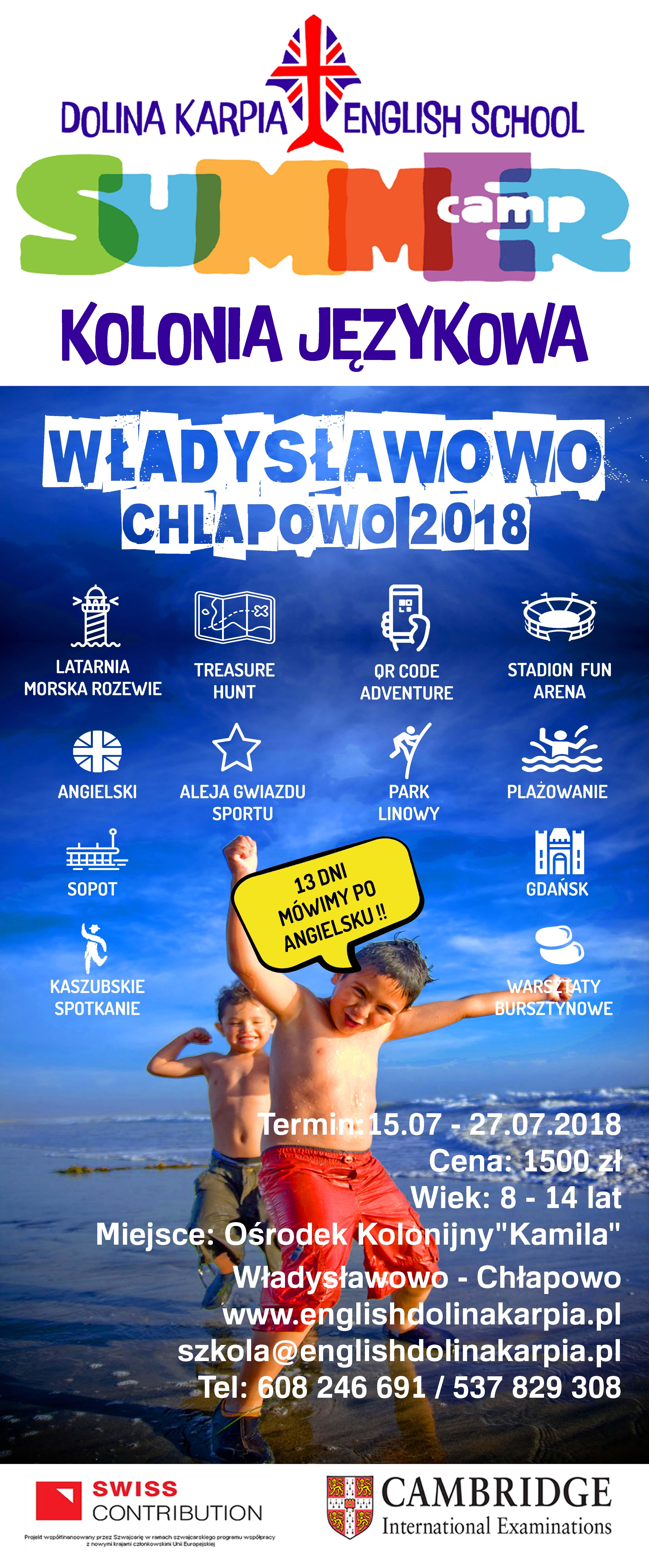 Plakat Kolonia 2018 Copy Dolina Karpia English School